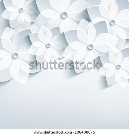 Beautiful floral trendy abstract background with 3d stylized flowers sakura. Stylish modern grey background. Invitation or greeting card for wedding, birthday and life events. Raster version - stock photo
