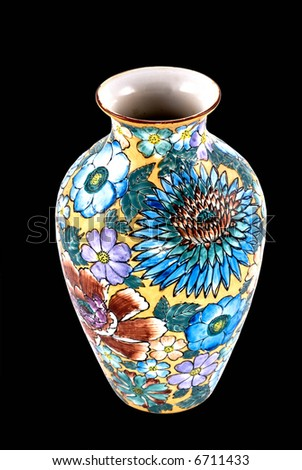 Beautiful floral vase with sunny theme and vibrant colors