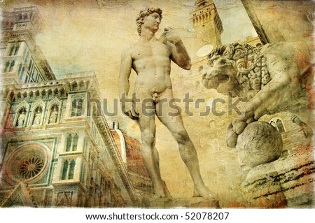beautiful Florence -artistic collage - stock photo