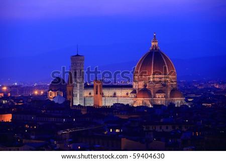 Beautiful Florence skyline at twilight, Italy. - stock photo