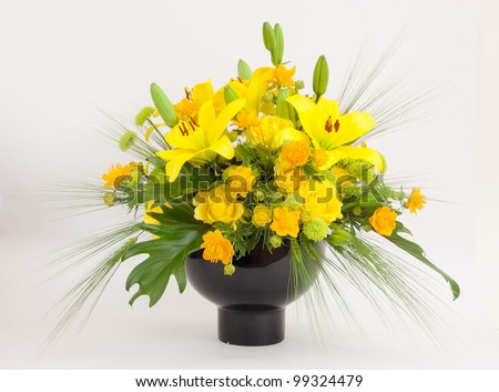 Beautiful flower arrangements for winter, spring, summer and autumn with colored backgrounds of white - stock photo