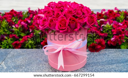 Beautiful flower bouquet pink roses big stock photo 100 legal beautiful flower bouquet of pink roses in big round pink hat box with ribbon outdoors mightylinksfo