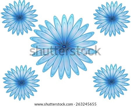 Beautiful flower illustration in azure blue color - stock photo