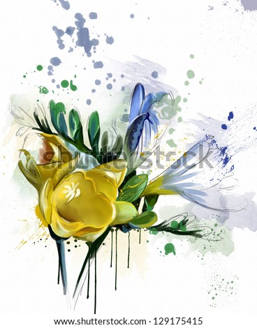 beautiful flower, watercolor - stock photo