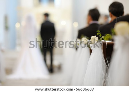Beautiful flower wedding decoration in a church - stock photo