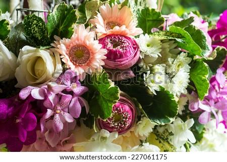 Beautiful flower wedding decorations. - stock photo