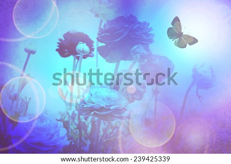 Beautiful flowers and butterfly in magic flash light. Flower texture abstract background  - stock photo