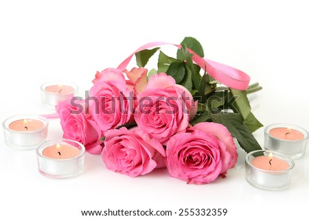 beautiful flowers and candles - stock photo