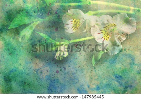 beautiful flowers and watercolor smudges - stock photo