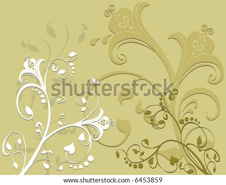 Beautiful flowers created in earth tone colors. With a nice swirling pattern incorporated into the design - stock photo