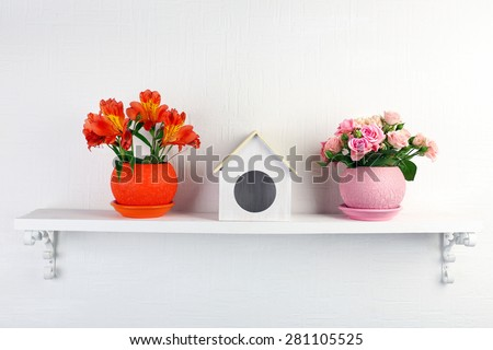 Beautiful flowers in pots on shelf on wall background - stock photo