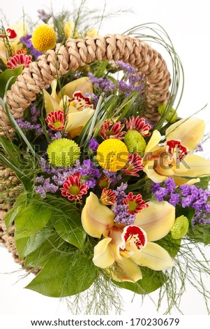 beautiful flowers in the basket