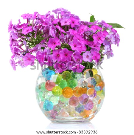 beautiful flowers in vase with hydrogel isolated on white - stock photo
