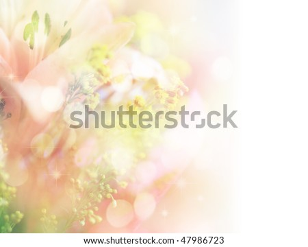 beautiful flowers made with color filters and bokeh - stock photo