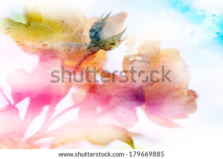 beautiful flowers made with color filters and textures  - stock photo