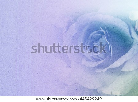 Beautiful flowers made with color filters in soft and blur style on mulberry paper texture - stock photo