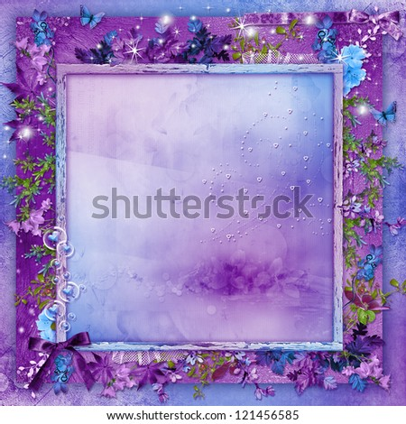 Beautiful flowers on a purple background card with hearts for Valentine's Day - stock photo