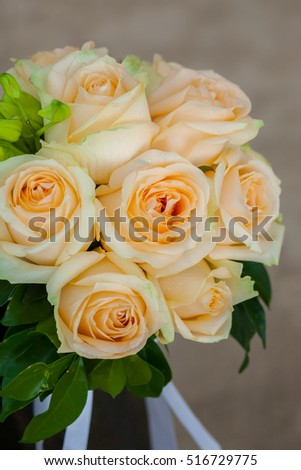 beautiful flowers on table in wedding day at the beach.
