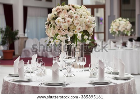 Beautiful flowers on table in wedding day. Luxury holiday background. - stock photo