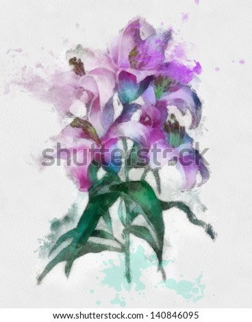 Beautiful flowers. Watercolor painting - stock photo