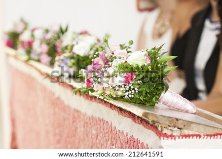 Beautiful flowers wedding decoration in a church - stock photo