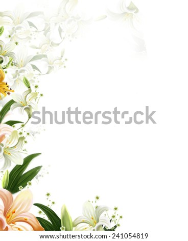 Beautiful Flowers white Lilies without Borders.Isolated on white - stock photo