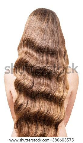 Beautiful, flowing long wavy hair on the back of a young girl. Isolated on white background. - stock photo