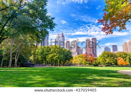 Beautiful foliage colors of New York Central Park. - stock photo