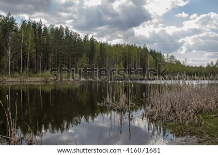 Beautiful forest pond in early spring in Central Russia. - stock photo