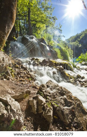 Beautiful forest waterfall in Plitvicka jezera Croatia - stock photo
