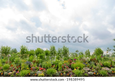 Beautiful formal flower garden with a scenic view of a neatly manicured flowerbed and lawn with colorful and lush green ornamental plants with seedlings ready for transplanting, copy space left above - stock photo