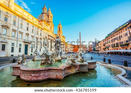 Beautiful fountains in Piazza Navona during in early morning, Rome - stock photo