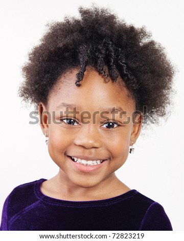 Beautiful four year old girl with pretty smile - stock photo