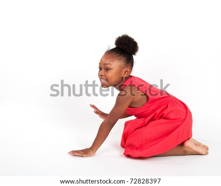 Beautiful four year old little girl dancing and playing. - stock photo