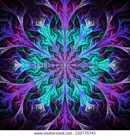 Beautiful fractal flower in black, blue and purple. Computer generated graphics. - stock photo