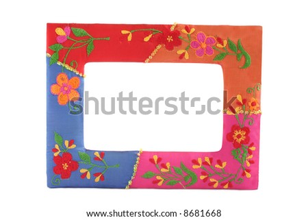 Beautiful frame with colorful floral decoration - stock photo