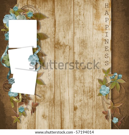 beautiful frame with flowers on grunge  background - stock photo