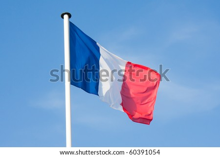 Beautiful French Flag blowing in the wind - stock photo