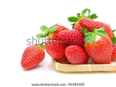 beautiful, fresh and juicy strawberries closeup on white background - stock photo