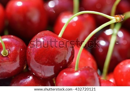 Beautiful fresh cherries. Fruit close up - Classic summer healthy fruit. - stock photo
