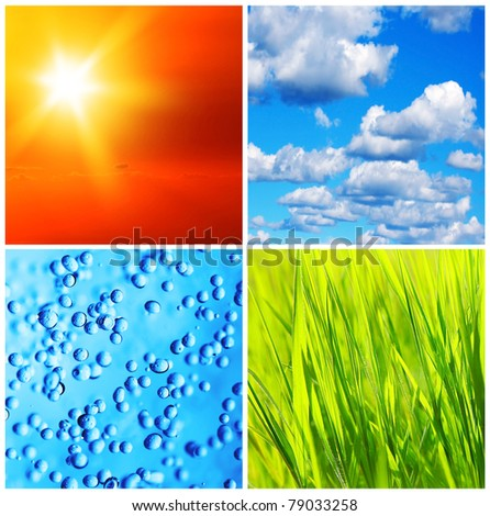 Beautiful fresh nature backgrounds collage, conceptual image of saving and protecting planet earth - stock photo