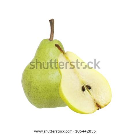 Beautiful fresh ripe pear isolated on white - stock photo