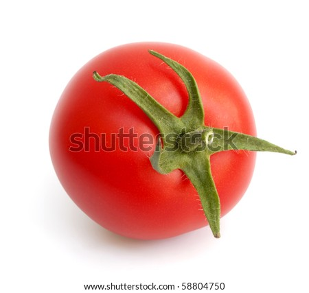 Beautiful fresh ripe tomato isolated on white - stock photo