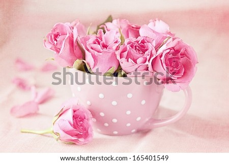 Beautiful fresh roses in a  cup on a pink background - stock photo