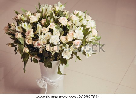 Beautiful fresh roses in a vase