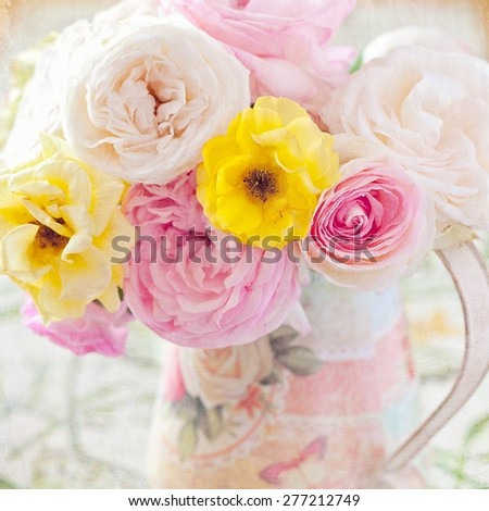 Beautiful fresh roses in a vase (vintage style ,grunge paper background) - stock photo