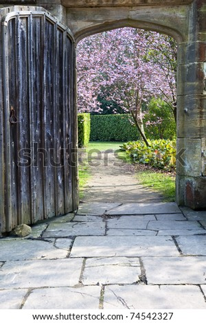 Beautiful fresh Spring blossom trees seen through old wooden door and stone archway - stock photo