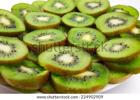 beautiful fresh tropical fruit kiwi as element meal - stock photo