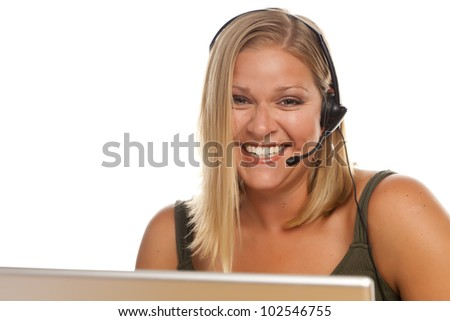 Beautiful Friendly Female Customer Support Phone Operator in Front of a Computer Screen Isolated on a White Background. - stock photo