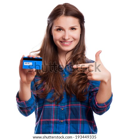 beautiful friendly smiling confident girl showing red card in hand, isolated - stock photo